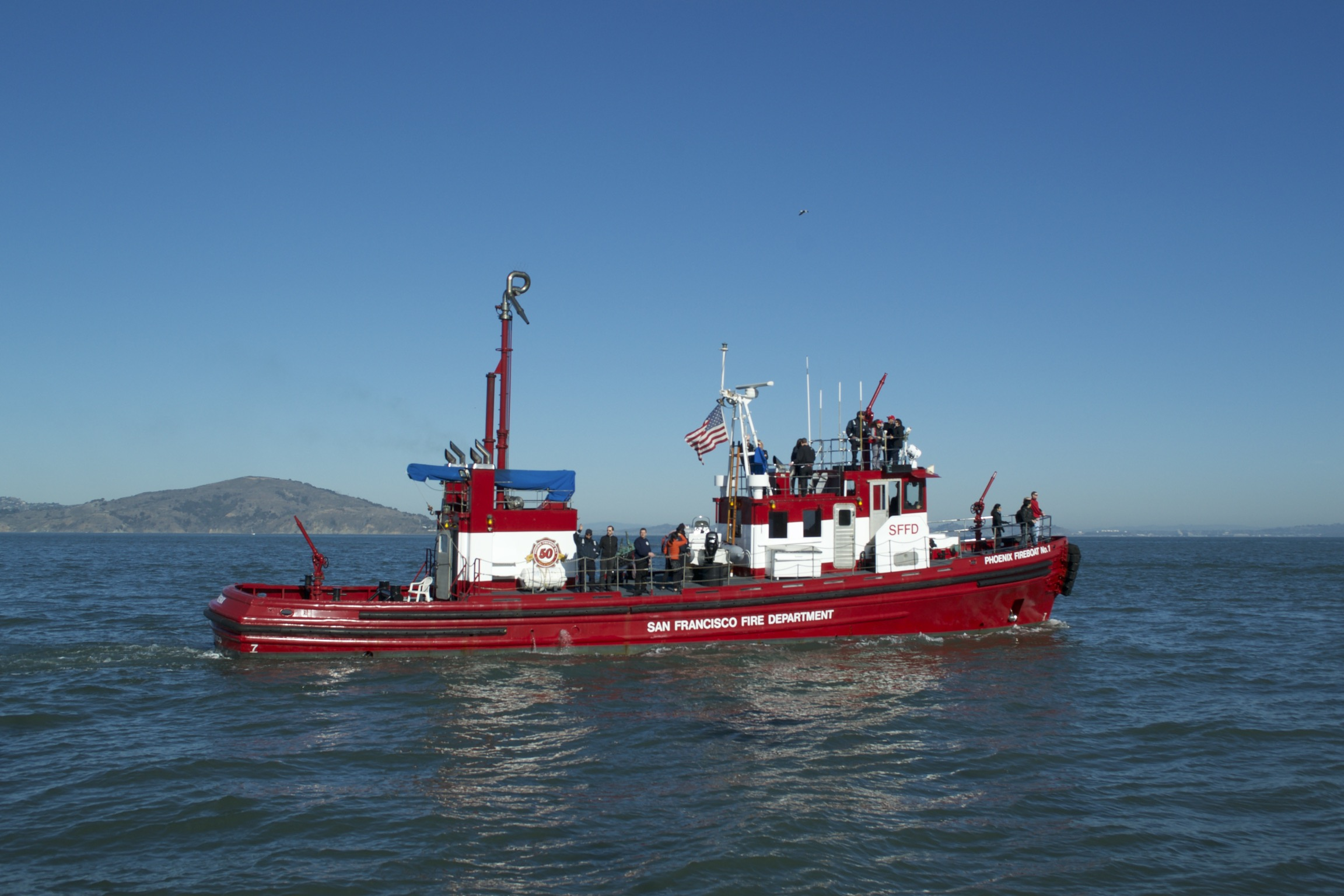 A red San Francisco Fire Department boat.