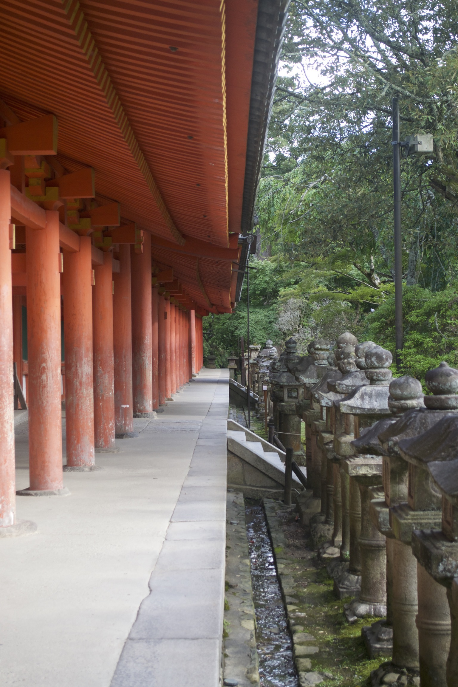 In the left half of the photograph, red wooden columns support a red roof.  In the right half stand a row of small shrines and trees.