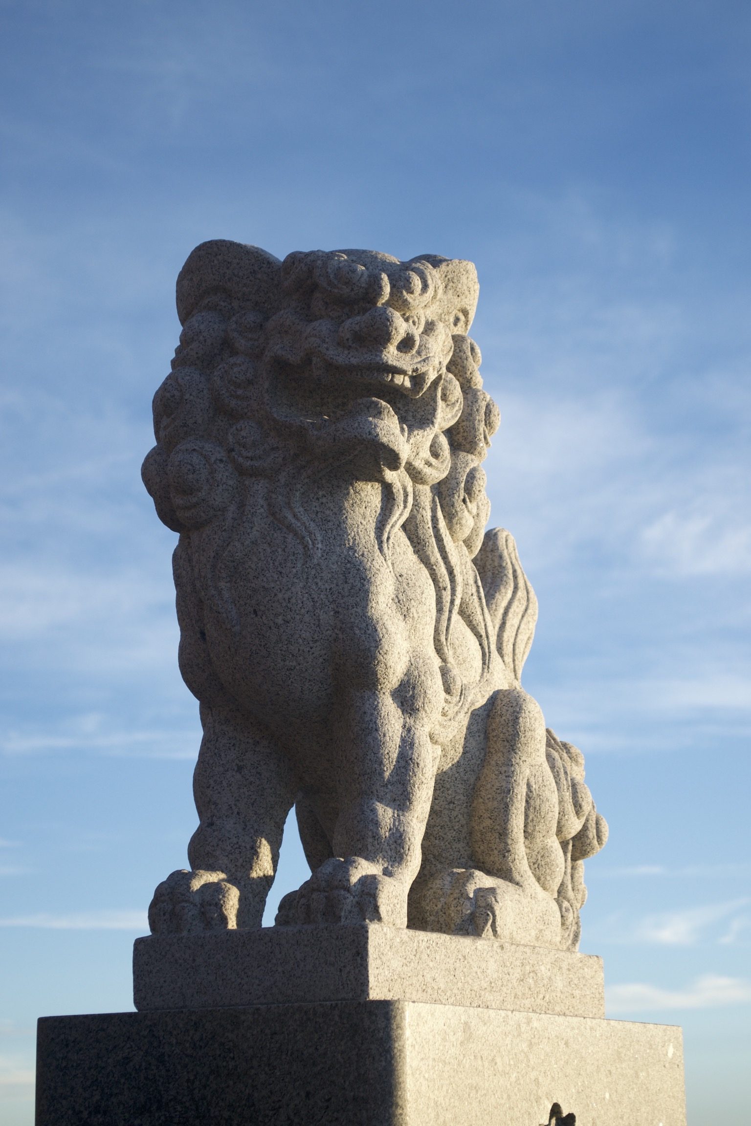 A lion statue is half-illuminated.