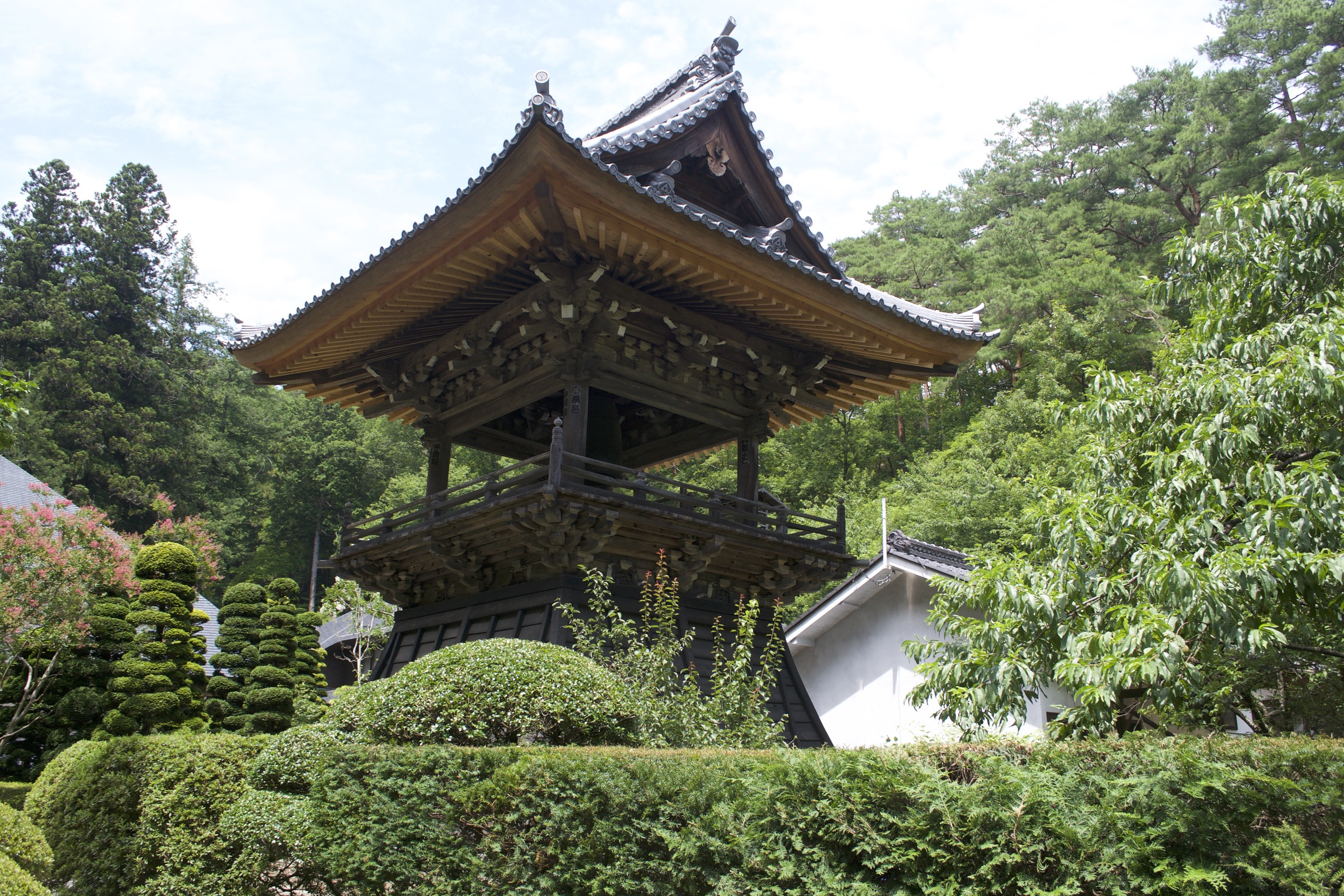An elevated single-tiered open pagoda.