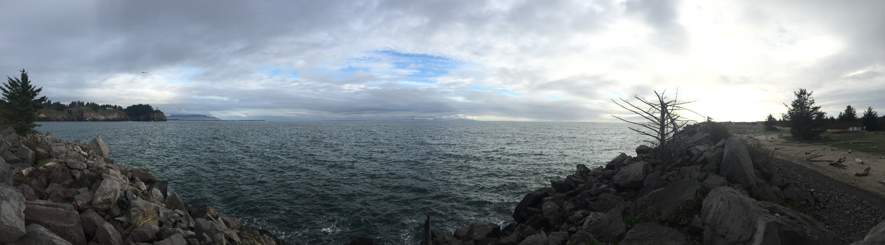 A panorama dominated by the water and overcast sky.