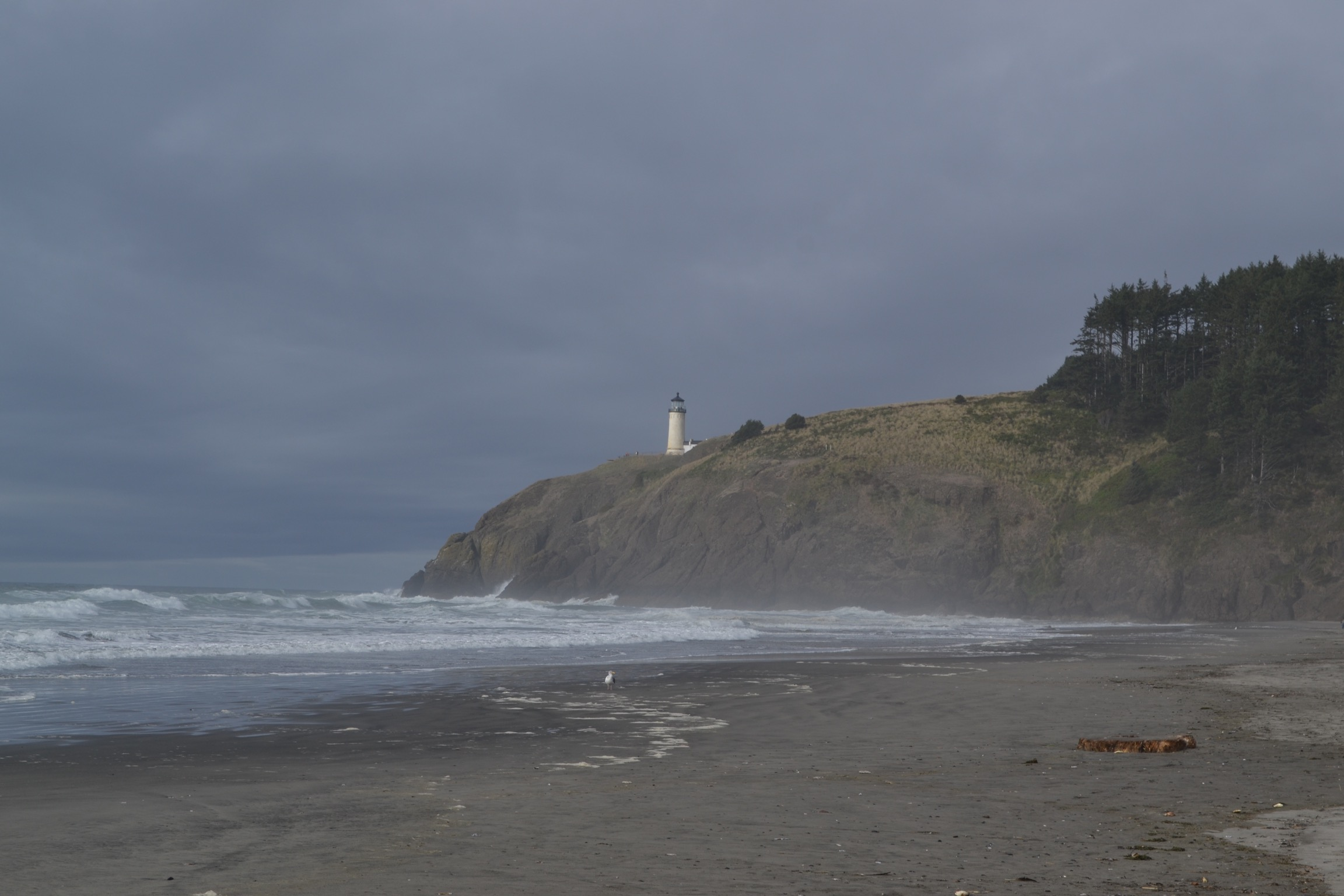 A beach with rough waves and cliffs with a plain white lighthouse before a gray sky.