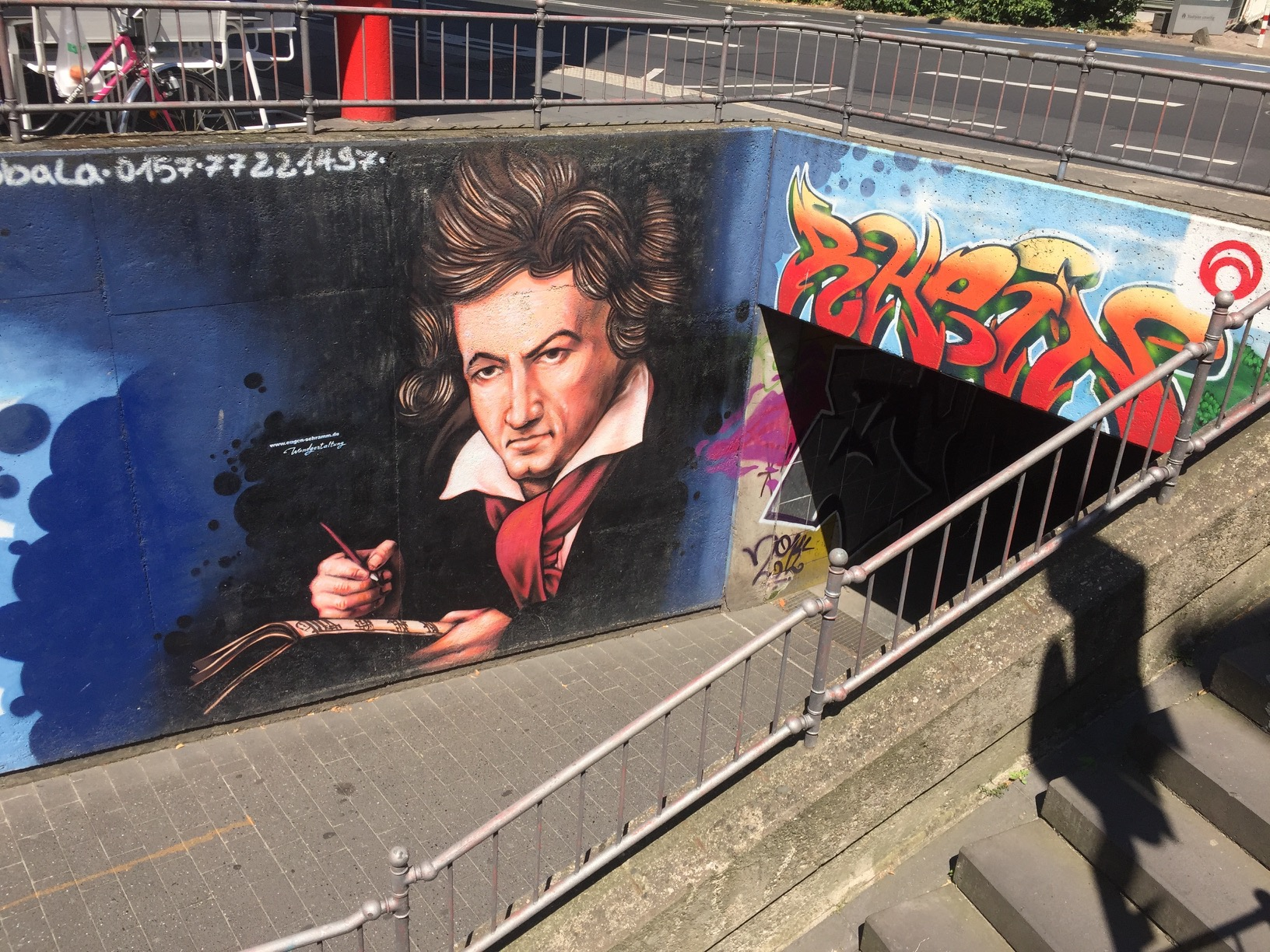 Mural of Beethoven on a tunnel leading to the Rhine.