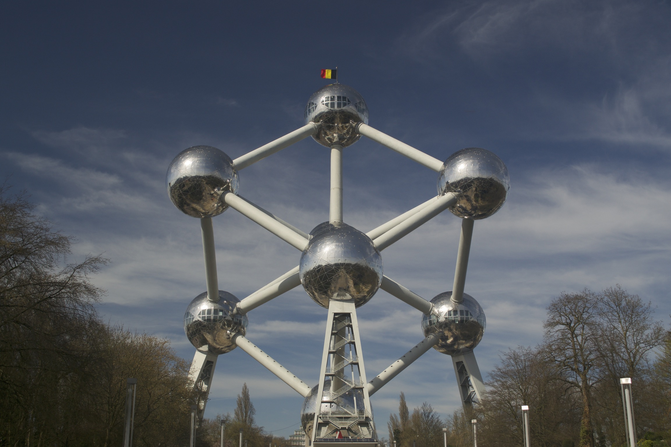 The Atomium seen from one of its cubic diagonals, revealing a hexagonal cross-section.